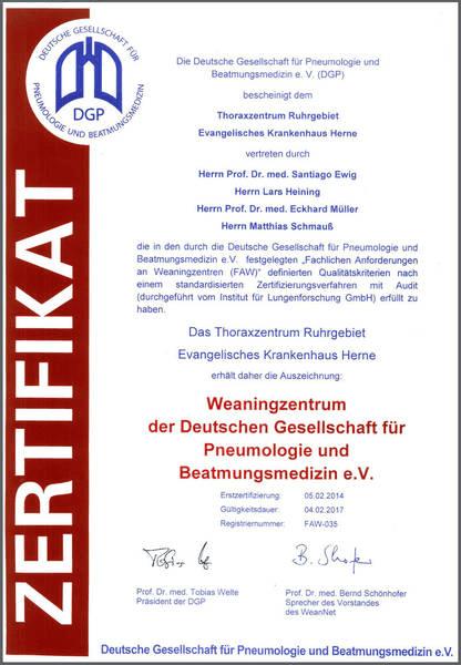 Zertifikat Weaning Zentrum Herne